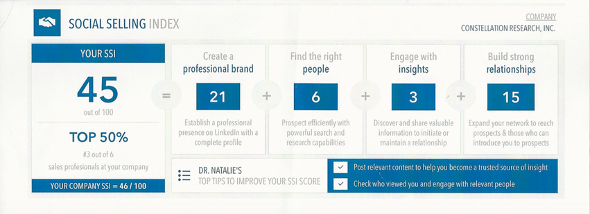 LinkedIn Profile Dr Natalie Social Selling Index3