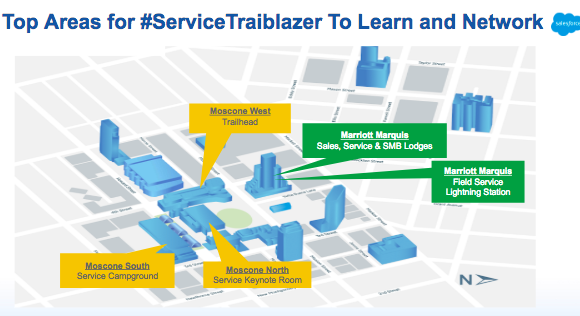 campus map of dreamforce customer service sessions @drnatalie on
